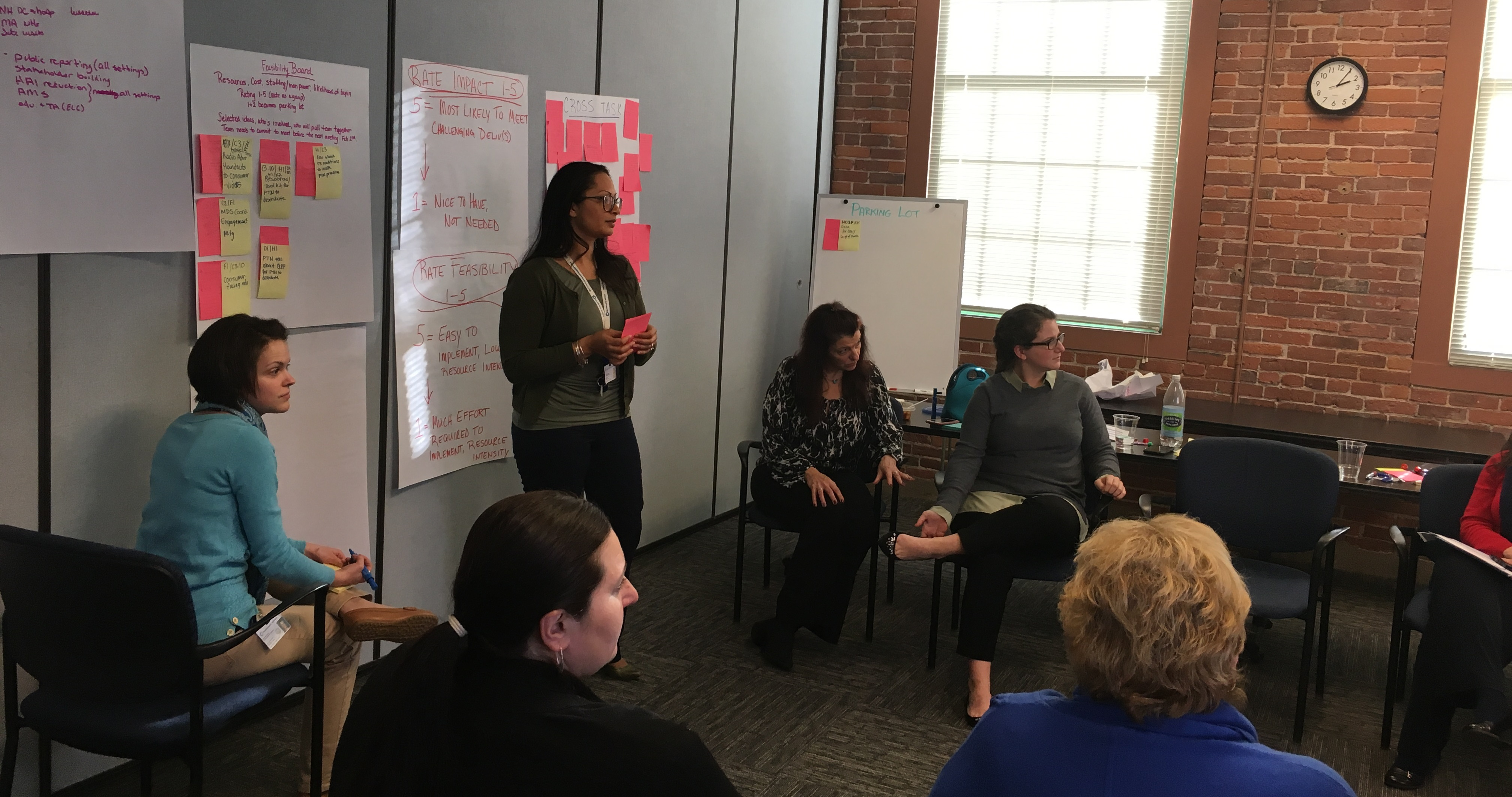 Associates working in cross-setting brainstorming meeting to identify opportunities to collaborate
